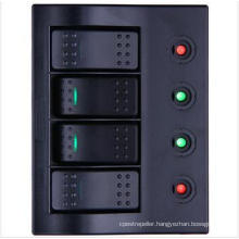 4 Gang LED Boat/Rocker Switch Panel with Circuit Breaker