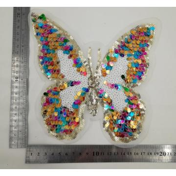 Patch papillon à paillettes colorées