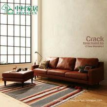 Американский Ретро кожа гостиной угловой диван комбинации