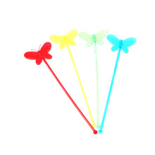 Disposable creative stick for Cocktail Swizzle Milk tea Juice Coffee with Butterfly shape Stirrers