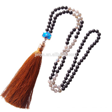 Sundysh mala beads, wholesale 108 natural moonstone black agate mala bead necklace ,mala beaded tassel necklace