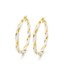 Gold und weiße große Kreisohrringe, große runde geformte Ohrringe
