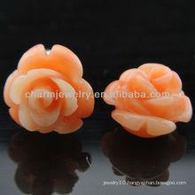 2013 Fashion Coral Carved Rose Pink Flower Stud Earrings EF-012