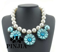 Chunky Pearl Bib Statement Necklace Costume Fashion Jewelry