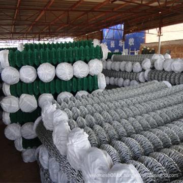 Cerca de elo de corrente revestida de galvanizado / PVC