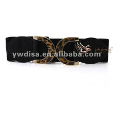 Fashion Look 6cm Black PU Elastic Leopard Metal Bukle Woman Belts With Factory Price BC2233-1