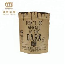 Emballage alimentaire certifié par Guangzhou Fda Stand Sceau de chaleur pour sac en papier kraft laminé par fermeture à glissière