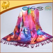 Material de seda de lado duplo Acessórios para mulher Pashmina Tiras impressas feitas sob medida