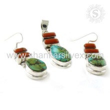 Charming Coral & Turquoise Jewelry 925 Silver Set Gemstone Silver Jewelry Wholesaler