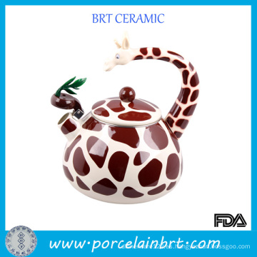 Tetera de cerámica esmaltada con forma de jirafa