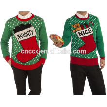 PK18ST052 pull en tricot de Noël avec bouteille de boost