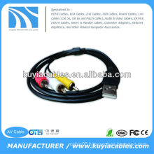 BLACK USB TO 3RCA Audio Video Wire
