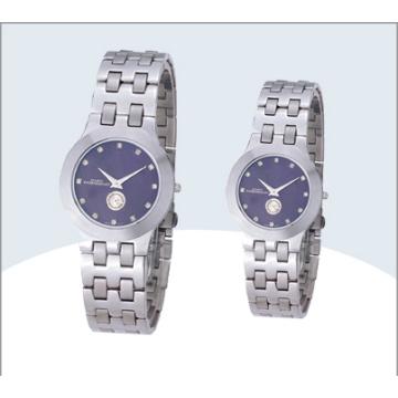 Aço inoxidável casal relógio, relógio de quartzo (15179)