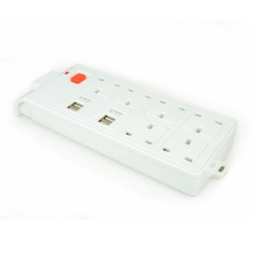 USA 6-gang power strip with 4 usb ports