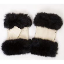 Lady Fashion Fuchspelz fingerlose Leder Kleid Handschuhe (YKY5162)