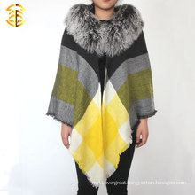 Wool Scarf and Shawls With Real Mongolia Fur Wool Scarf