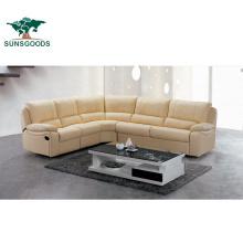 Luxury Classic European Lounge Genuine Leather 7 Seater Recliner Wood Frame Sofa Furniture
