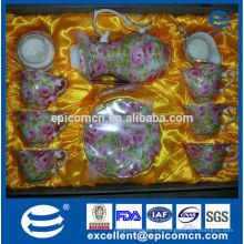 1700ml Porzellan Teetopf mit schönem Abziehbild und Goldrand im Mund, chinesischer Teekanne