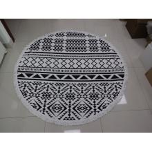Круглые пляжные полотенца из хлопка с реактивной печатью по индивидуальному заказу с кисточками