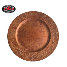 Antique Copper Flower Pattern Plastic Charger Plate