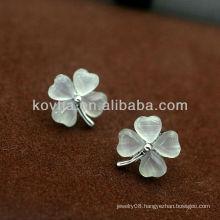 Newest white opal diamond jewelry 925 silver clover stud earrings