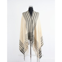Fashion women faux cashmere border winter poncho shawl