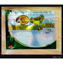 Reißverschluss-Plastiktaschen für weichen Fischenköder / faltende Fischereiködertaschen des Fangs