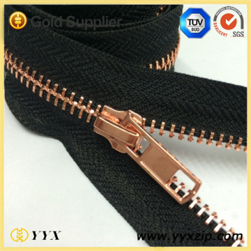 Fashion Rose Gold Tänder Metal Zipper