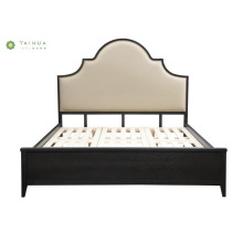 American Wood Bed with Light Leather Headboard Cushion