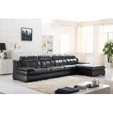Canapé de salon en cuir noir moderne KW347