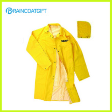 PVC Polyester Safety Men′s Long Raincoat Rvc-055A