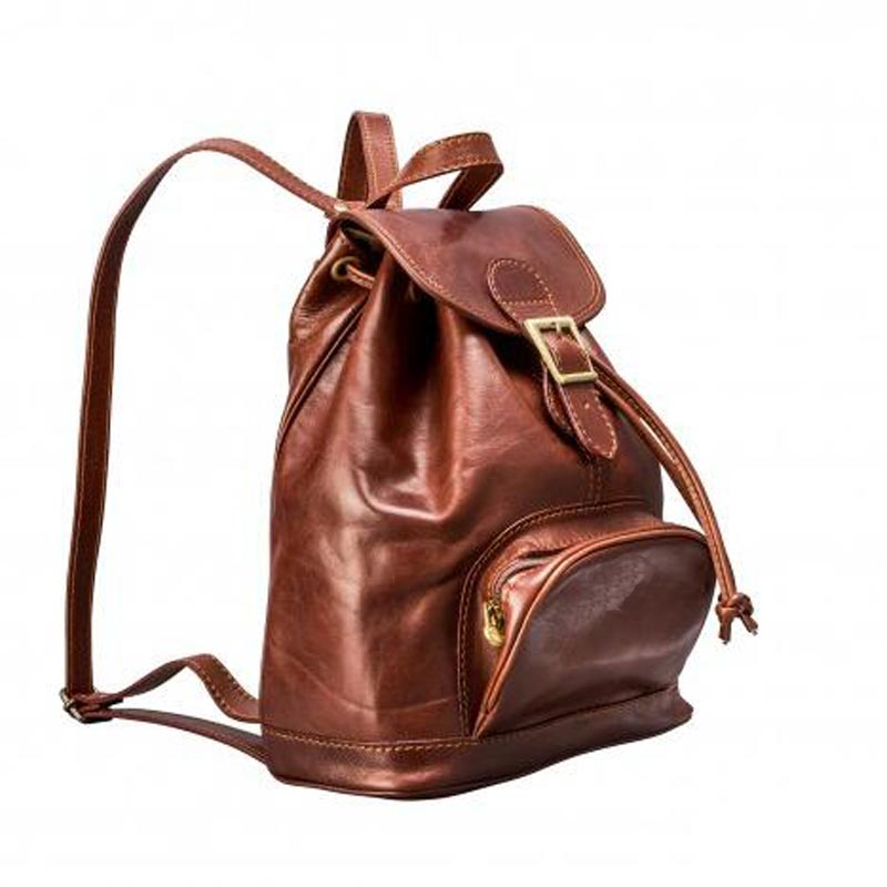 Leather Backpack With Drawstring Opening