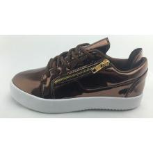 Brown medio corte moda casual zapatos de skate para las mujeres, espejo PU