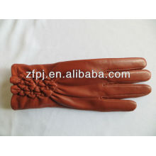 Lady leather gloves thick warm autumn/winter women's palm red skins