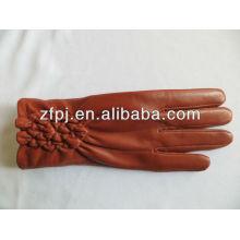Lady luvas de couro grossas outono quente / mulheres de inverno de palma peles vermelhas