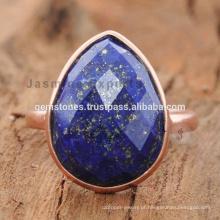 Atacado Rose Gold Lapis Gemstone Ring Jewelry Lapis Lazuli Gemstone Rings