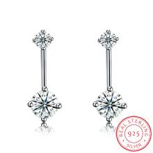 Pendiente de la manera del perno prisionero del oído del Zircon de la forma de la nieve de la plata esterlina 925