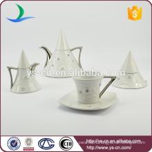 Silver plated ceramic coffee set with diamond