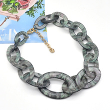 2021 Spring summer collection special unique starry sky green acrylic chunky chain necklace