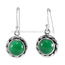 Natural Green Onyx Gemstone 925 Sterling Silver Earring