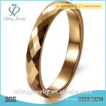 Top polido, noivado moda ouro banhado dedo anel de tungstênio