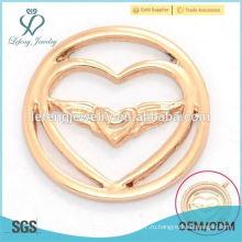 Модные новые розового золота сплава двойного сердца окна пластин для плавающей прелести ожерелье медальон подвеска ювелирные изделия