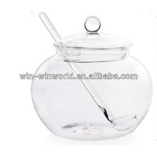 Tarro de almacenamiento de cristal al por mayor más popular de China con la tapa de cristal