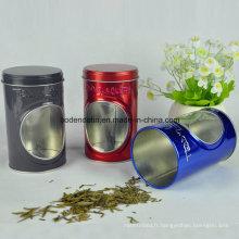 Boîte en étain pour emballage à thé ronde personnalisée avec fenêtre en PVC