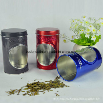Caja redonda de encargo de la lata del té con la ventana del PVC China Supplier
