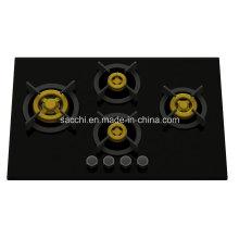 Suprema cocina de latón única 4 quemadores de gas (8 mm de vidrio)