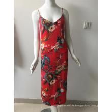 robe en viscose imprimée en couleur rouge