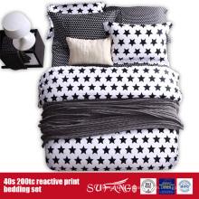133 * 72 Linge de lit blanc noir imprimé pour l'usage d'hôtel / à la maison