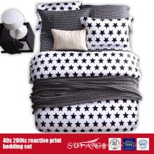Linho de cama branco preto impresso 133 * 72 para o uso do hotel / home