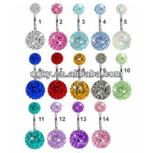 Double Ferido Crystal Ball Belly Ring, Crazy Belly Button Rings